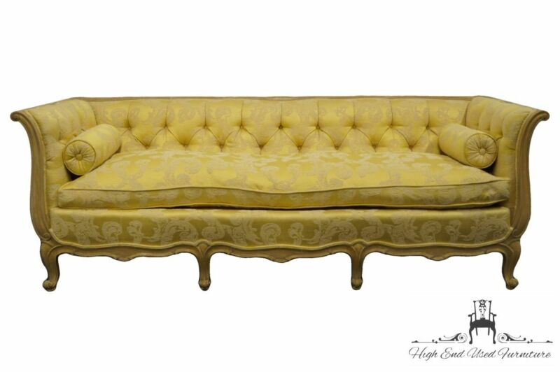 Vintage Louis XVI French Provincial Golden Yellow Floral Pattern Tufted Uphol...