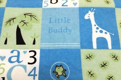 "NEW HANDMADE ""LITTLE  BUDDY""34X42in  BOYS BABY/TODDLER FLANNEL QUILTED BLANKET"
