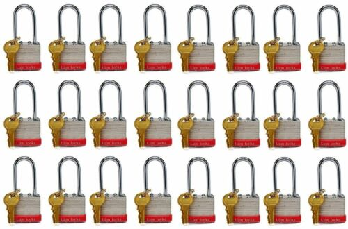 Lion Locks 5PLS Keyed-Alike Padlock, 1-9/16-inch Wide 2-inch Shackle, 24-Pack