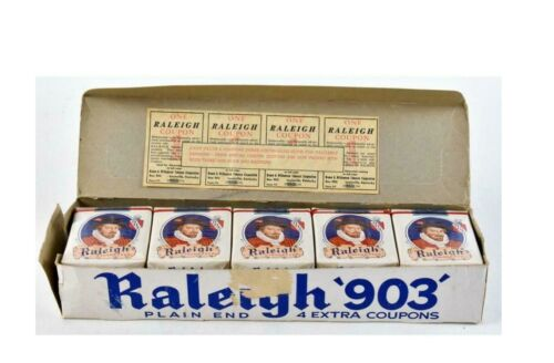 RARE 1952 RALEIGH 903 EMPTY CIGERETTE PACK CARTON STORE DISPLAY INTACT