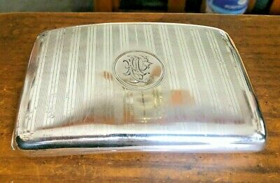 Large Sterling Silver Cigarette Case 146 Grams Excellent!