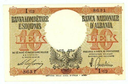 "Albania ... P-11 ... 10 Lek ... ND(1940) ... *UNC* ... Letter ""I"""