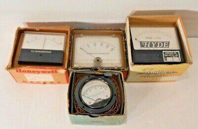 Lot Of 4 Simpson Knight Allied Honey Well D.c Micro Milliamperes Rpm Meters