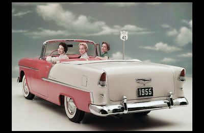 1955 Chevy Belair PHOTO Girls Cruising Advertisement Chevrolet Convertible