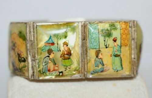 Vintage Persian Hand Painted Story Panel Silver Hinged Bracelet Mother Of Pearl