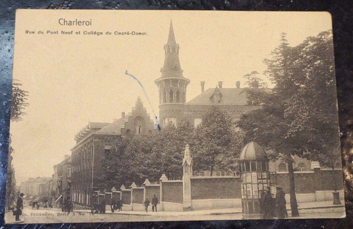 CPA - Belgique Charleroi - rue du Pont Neuf et collège du Sacré Coeur