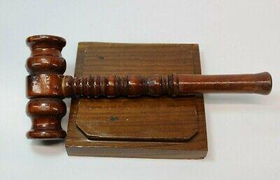 """Vintage Dark Lightweight Wooden Gavel Auction Judge Mallet 10 1/2"""" and Block"""