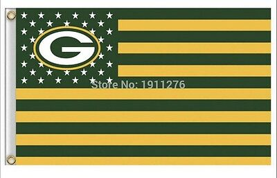 Green Bay Packers 3x5 Ft American Flag Football New In Packaging