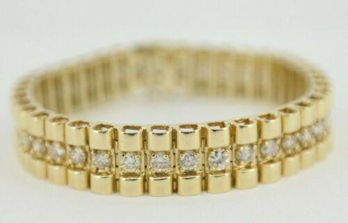 "Vintage 4 TCW Diamond Link Bracelet 14K Yellow Gold 7"""