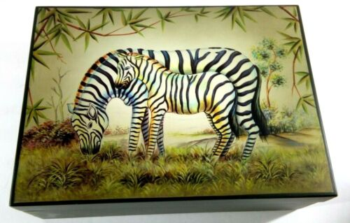 """Wooden Trinket Box - ZEBRAS -  Approx 9"""" x 6"""" x 3"""" - Signature Home Collection"""
