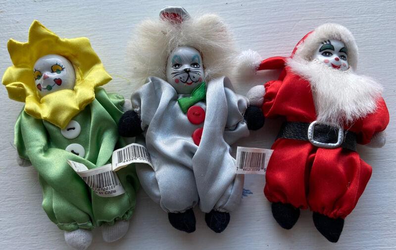 Lot Of 3 Mini Vintage Clown Doll Porcelain Face Bean Bag Cat Flower Santa Claus