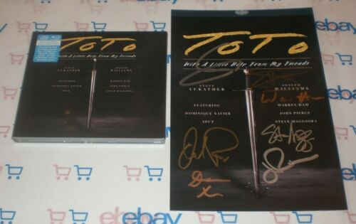 TOTO BAND SIGNED WITH A LITTLE HELP FROM MY FRIENDS ART CARD + NEW CD AUTO COA