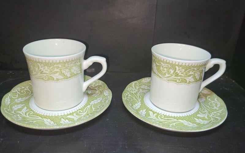 2 English Ironstone Sterling Renaissance J. & G. Meakin Tea Cup & Saucer Sets