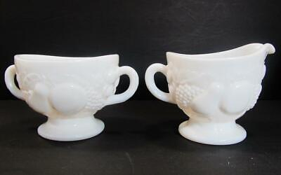 Westmoreland Della Robbia Milk Glass Creamer and Sugar Set Cream Pitcher