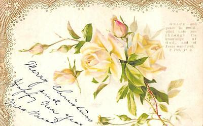 CHRISTMAS & NEW YEAR HOLIDAY FLOWERS RELIGIOUS BIBLE QUOTE POSTCARD (c. 1900) - Christmas Religious Quotes