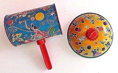 Vintage New Years Metal Noisemaker Bell Drum US Metal Toy Mfg Co Plastic Handle