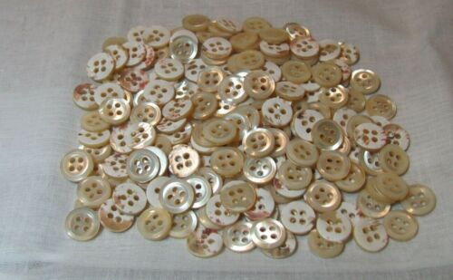 100 White Vintage Mother of Pearl Shell Buttons- 3/8 inch