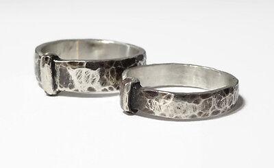 200 Year 4mm Band - Outlander Wedding Ring - Sporran Key - Blacksmith - Sterling