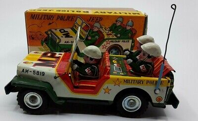RARE! VINTAGE JAPAN, TIN FRICTION MITSUHASHI MILITARY POLICE JEEP TOY WITH BOX