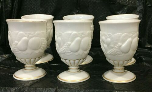 Six Westmoreland DELLA ROBBIA  Milk Glass Stem Footed Water Goblets Gold Trim