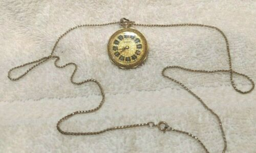 Sheffield Pendant Wind Up Watch Gold Engraved Dial Sides Back Swiss Working VTG