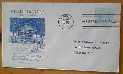 Dare Cover (First day of issue, 1937 250th Anniv of the Birth of Virginia Dare, Scott # 796 )