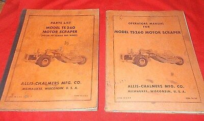 Allis Chalmers Ts260 Motor Scraper Parts List Operators Manual