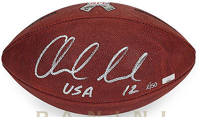 """ANDREW LUCK Signed / Inscribed """"USA"""" Salute To Service Football PANINI LE 50"""