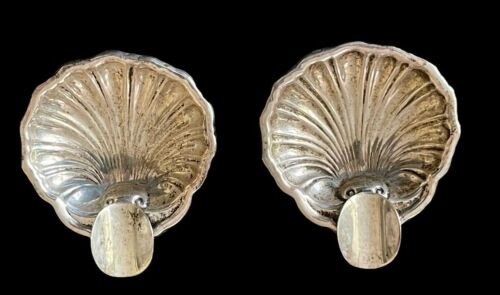 "2 VTG 925 Sterling Silver Clam Sea Shell Miniature Ashtrays Ball Feet 2 1/8"""