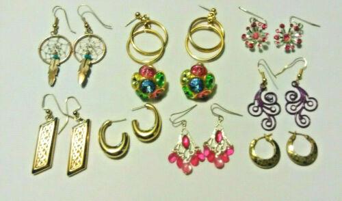 Pierced Earrings 9 Pair - Lot - Marked Monet - 14K