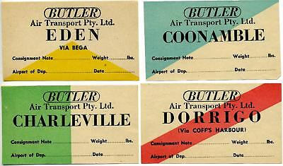 Butler Air Transport   Australia  Group Of 4 Diff Airline Luggage Labels  1955