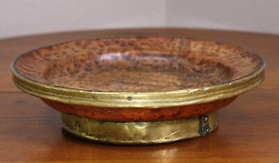 A Burl Wood Antique Old Vtg Brass Plate Footed Bowl Tray Stamped Swastika Signed
