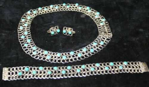 Turquoise & Sterling Silver Necklace Bracelet and Earrings Vintage Mexico TNC