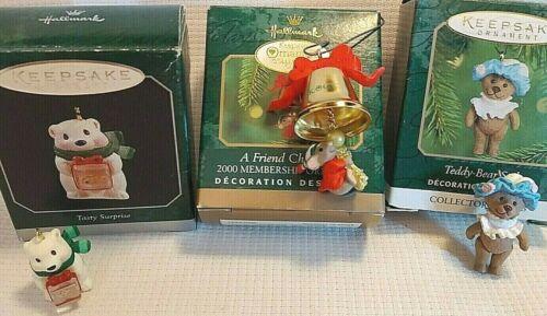 3 LOT Hallmark Mini Ornaments Tasty Surprise A FRIEND CHIMES IN Teddy Bear Style