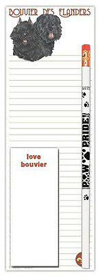 Bouvier Dog Notepads To Do List Pad Pencil Gift Set