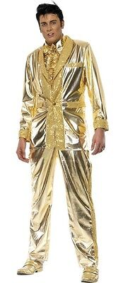 Mens Gold Elvis 1950s Celebrity Star Musician Fancy Dress Costume Outfit M & L