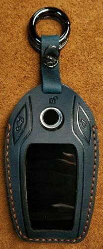 Blue+Genuine+Leather+Remote+Key+Case+Cover+For+BMW++Display+Key