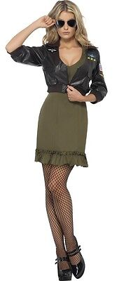 Damen klassisch Top Pistole Aviator Film 1980s Jahre 80s Kostüm Kleid Outfit UK