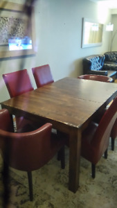 $800 + $600 OBO - NEW - 10 seats solid wood dining table 2 leafs