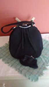 Vintage 40's Black Suede evening bag