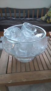 Glass punch bowl with punch glasses