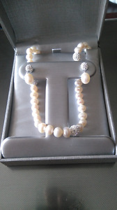 Brand New: Pearl and Encrusted Crystal Necklace with Earrings