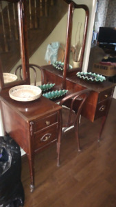 Gorgeous RARE ELM WOOD Vanity and Chair 1920