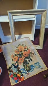 Beautiful Floral Needle Point Print already started with Frame