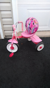 Small toddler tricycle with helmet