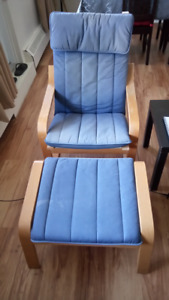 Ikea Poang chair with foot stool and two cushions