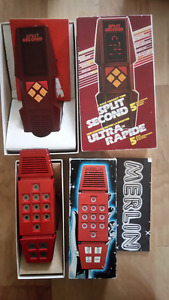 2 Vintage early Retro Electronic games, Merlin & Split Second