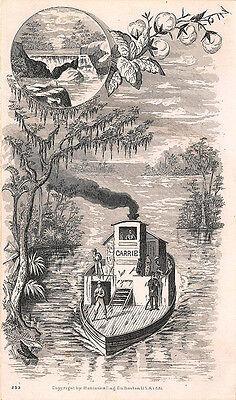 Boston MA 1881 Fairbanks Price List Carrie River Boat Postcard