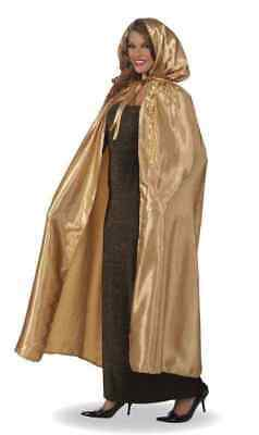 FANCY MASQUERADE GOLD SATIN HOODED EXTRA LONG CAPE HALLOWEEN COSTUME ACCESSORY