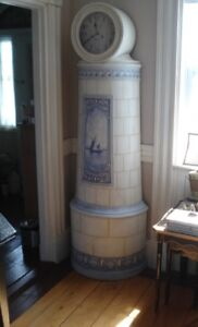 Vintage Danish Tall Case Clock- Painted in Delft Kakelugn Style